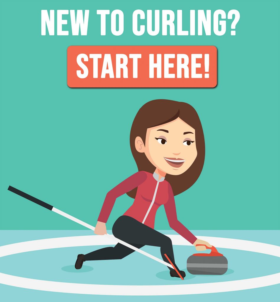 graphic of female curler throwing rock